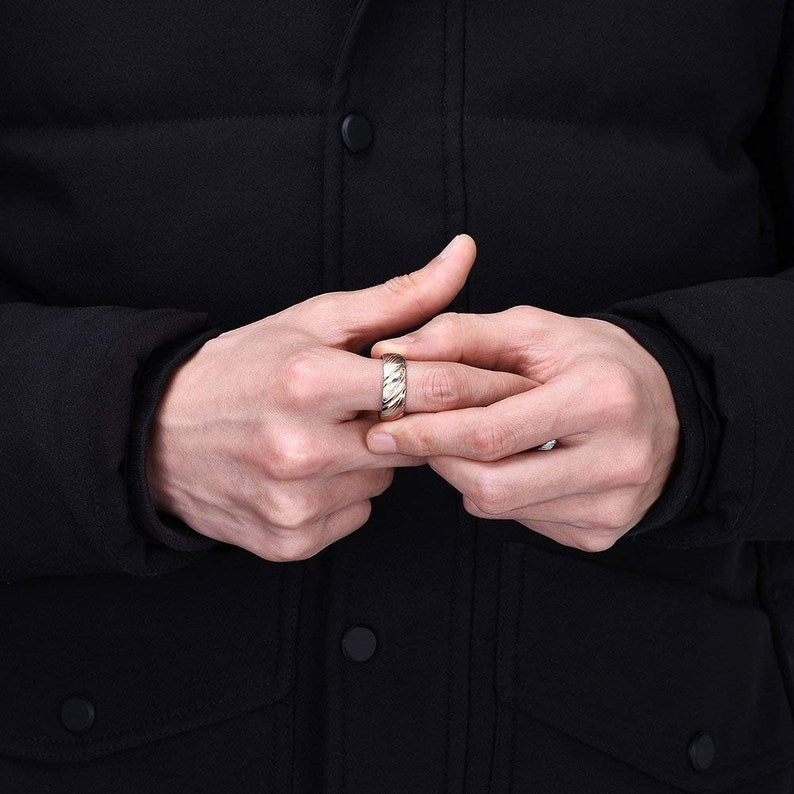 Rose Gold Damascus Steel Ring 8mm Mens Ring Rose Gold Wedding Band Mens Wedding Band Stainless Steel Wedding Band Mens Stainless Steel Ring