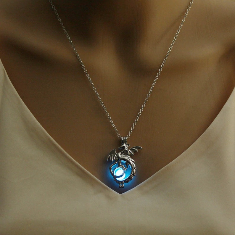 10. Glow in the Dark Dragon Pendant Necklace