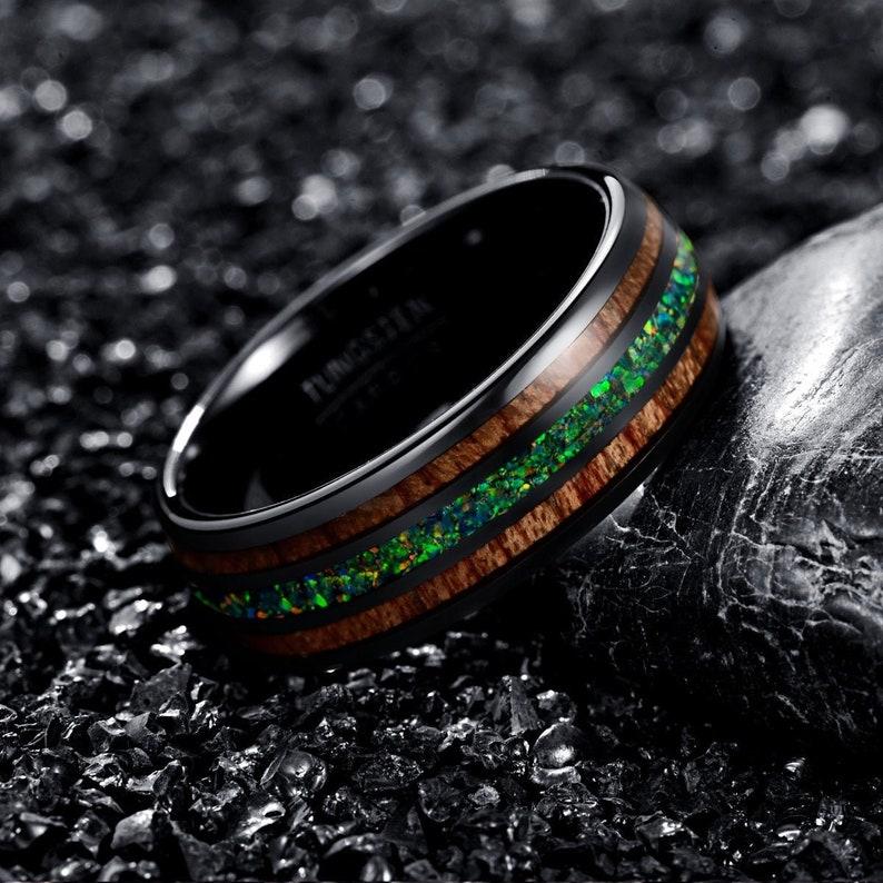 Green Opal Ring Tungsten Ring Men's Wedding Ring Real image 0