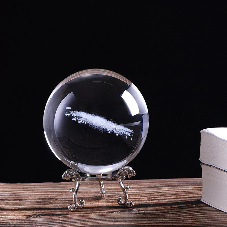 Galaxy Paperweight Crystal Ball Outer Space Gifts Galaxy Ornament Celestial Gifts for Him Her Galaxy Glass Ball Glass Orb Geek Gifts Sci-Fi