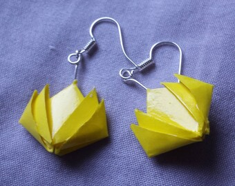 Yellow lotus origami earrings