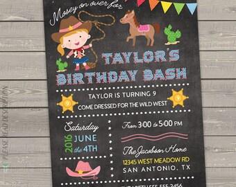 cowgirl birthday invitation, cowgirl birthday party, printable western birthday invitations, chalkboard invitation digital or printed invite