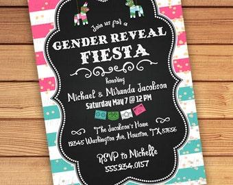 fiesta gender reveal invitations printable, fiesta gender reveal invites printed, gender reveal party invitations fiesta pinata boy or girl