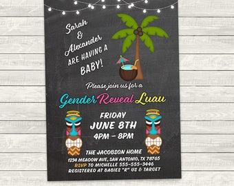 tiki gender reveal invitations, luau invites, tropical baby shower, printable or printed