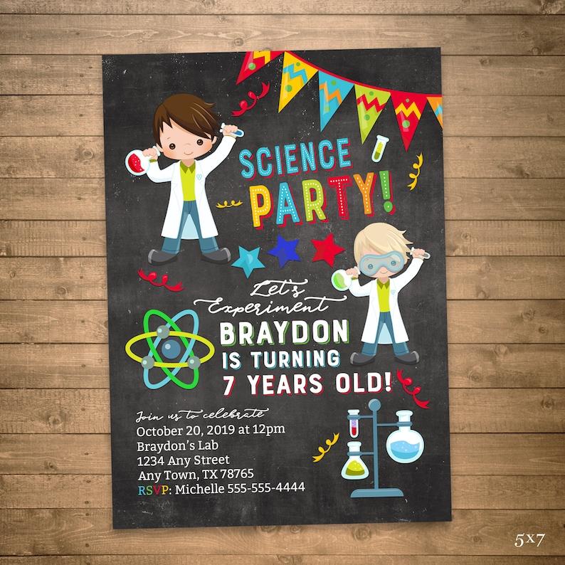 Science birthday invitation printable, boys sciene party, let's experiment,  digital chalkboard, JPG PDF or printed options