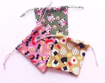 Handmade Drawstring Bag - Japanese Kinchaku Bag - Onigiri - Sushi  - Drawstring Pouch