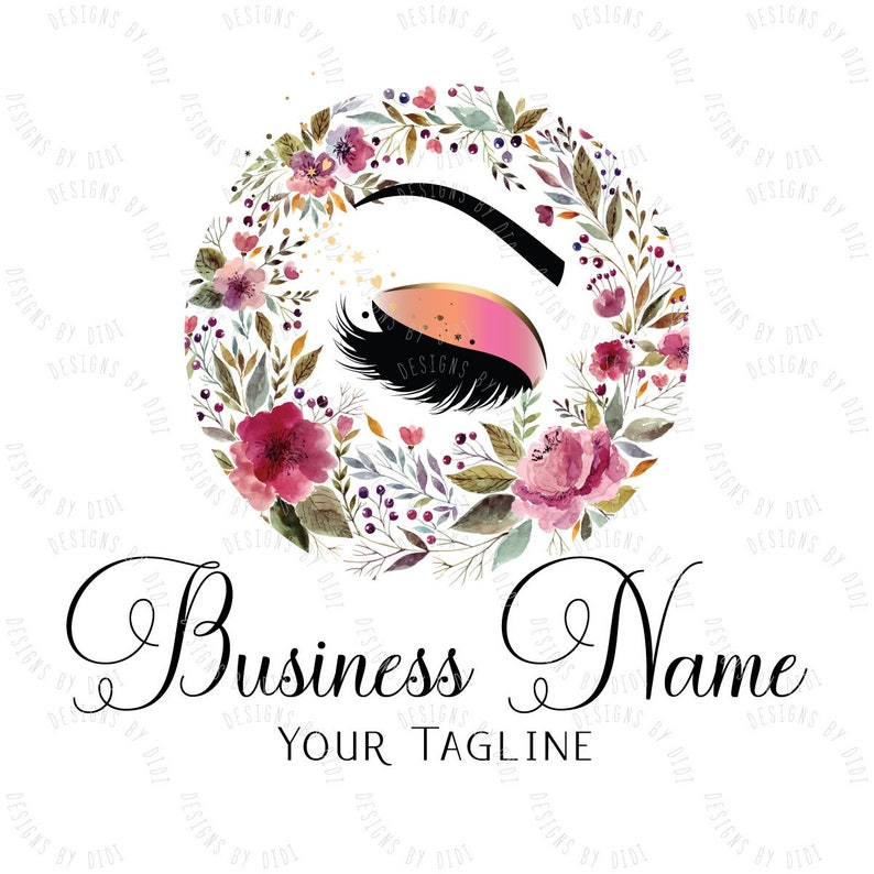 Custom logo, lash flowers logo, eye with flowers logo, eyelash logo,  cosmetics logo, beauty makeup lashes logo, Lashes eye logo colorful