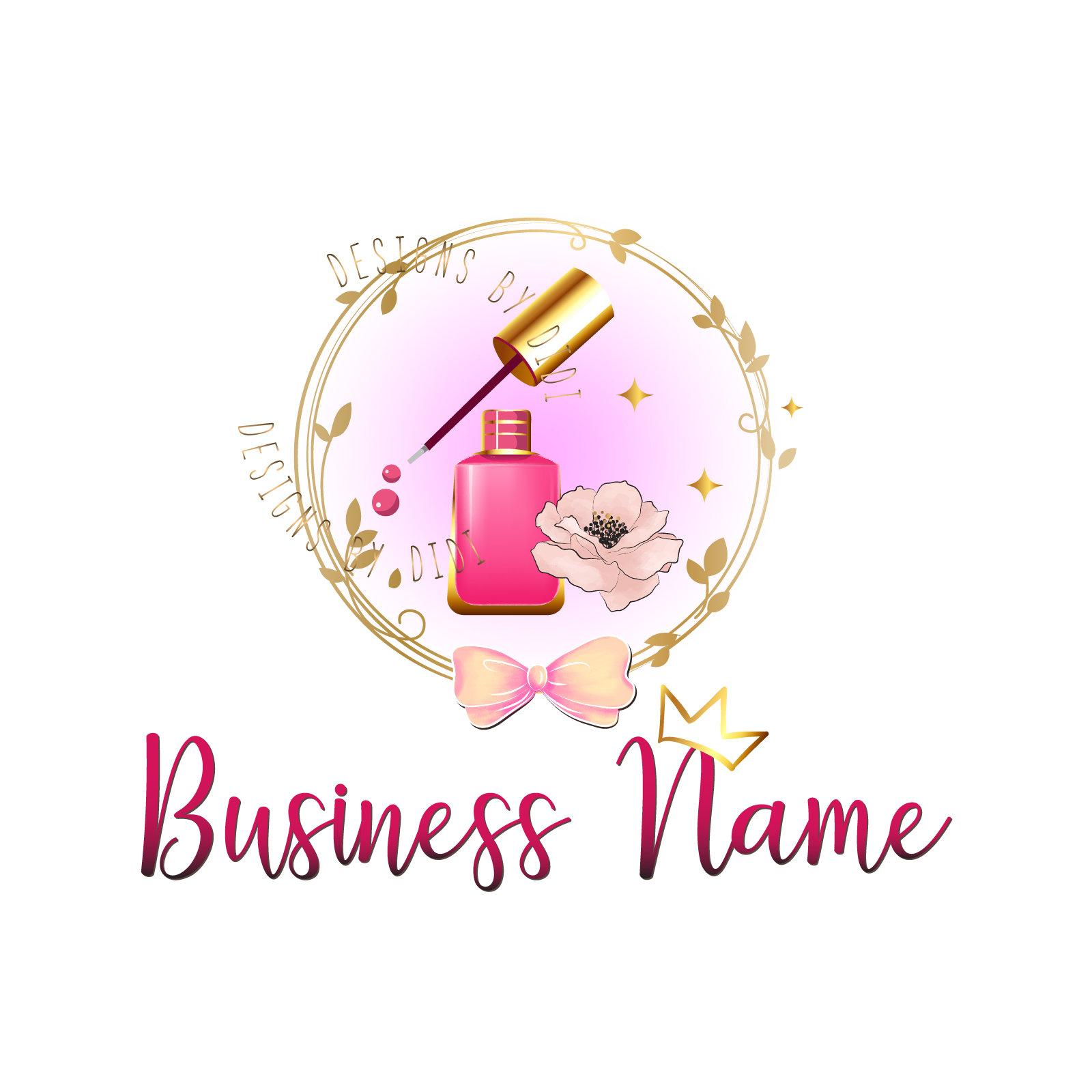 Premade beauty nails logo polish nails logo pink gold Custom | Etsy