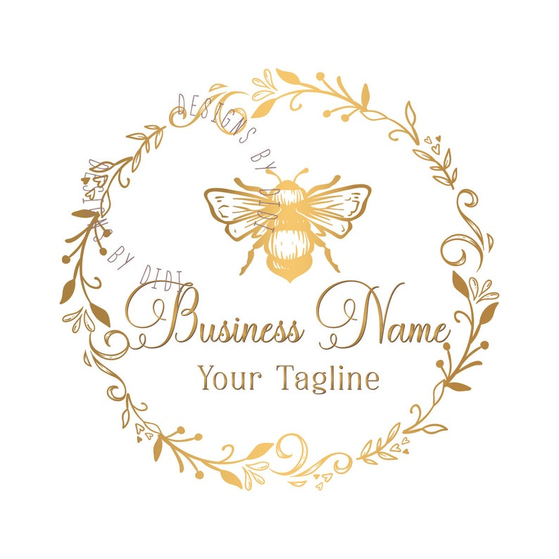 Custom Logo Design Gold Bee Logo Vintage Boutique Logo Etsy