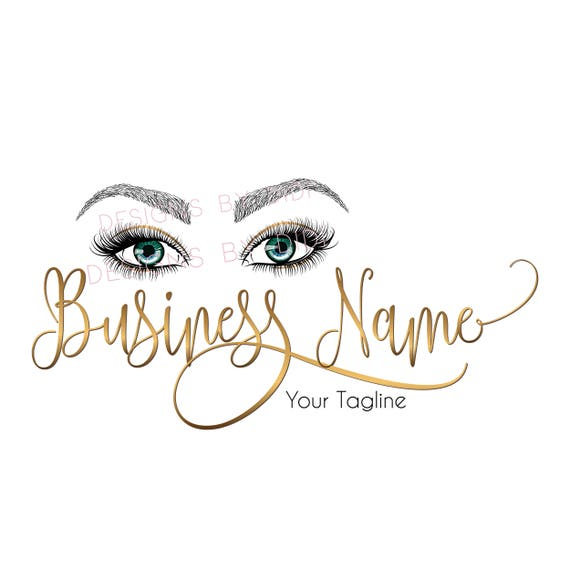 Custom logo, gold blue lashes logo, eyelash logo gold, cosmetics logo gold  , gold eye lashes logo, Lashes eye logo