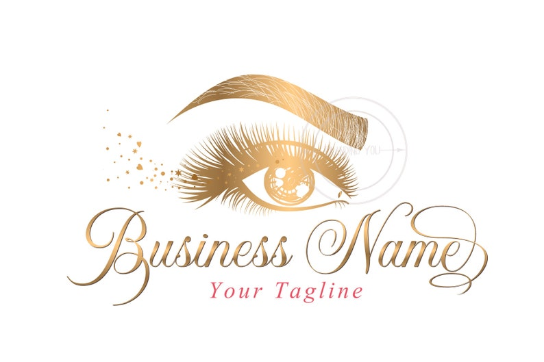 Custom logo, lashes logo, eyelash logo, cosmetics logo, gold lashes logo,  Lashes eye logo