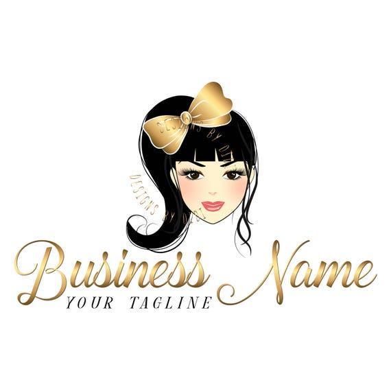 Custom logo, girl lashes logo, eyelash logo, beauty cosmetics logo, bow  girl logo, Lashes eye logo, logo makeup beauty girl,gold beauty logo