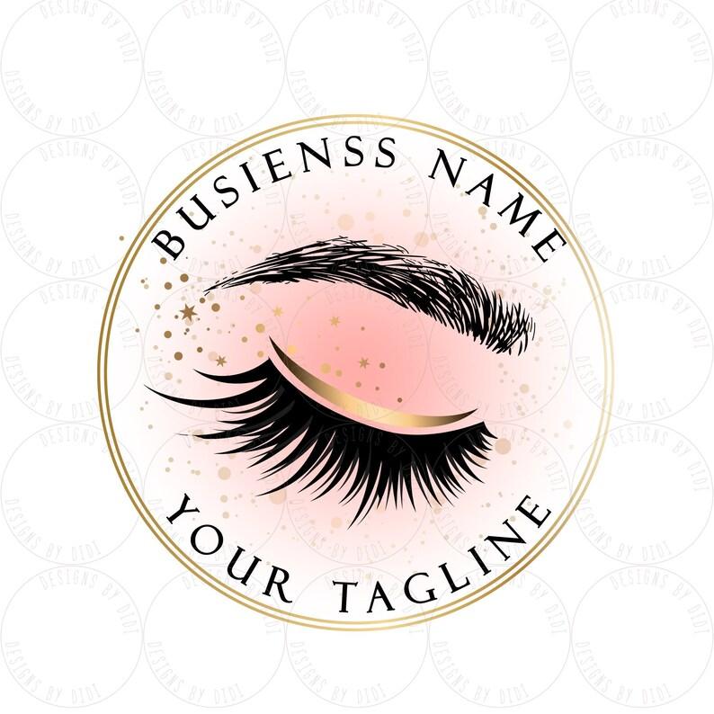Custom logo, lashes logo, eyelash logo, cosmetics logo, gold pink lashes  logo, Lashes eye logo, microblading logo, logo brow microblading