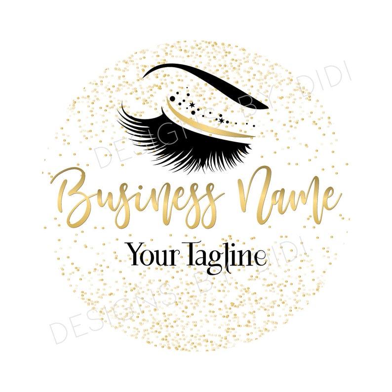 Custom logo, lashes logo, eyelash logo, cosmetics logo, gold confetti  lashes logo, Lashes eye logo