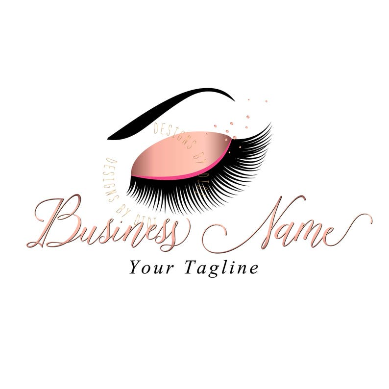 Custom logo, rose gold lashes logo, glitter eyelash logo, cosmetics logo,  rose gold confetti lashes logo, Lashes eye logo pink