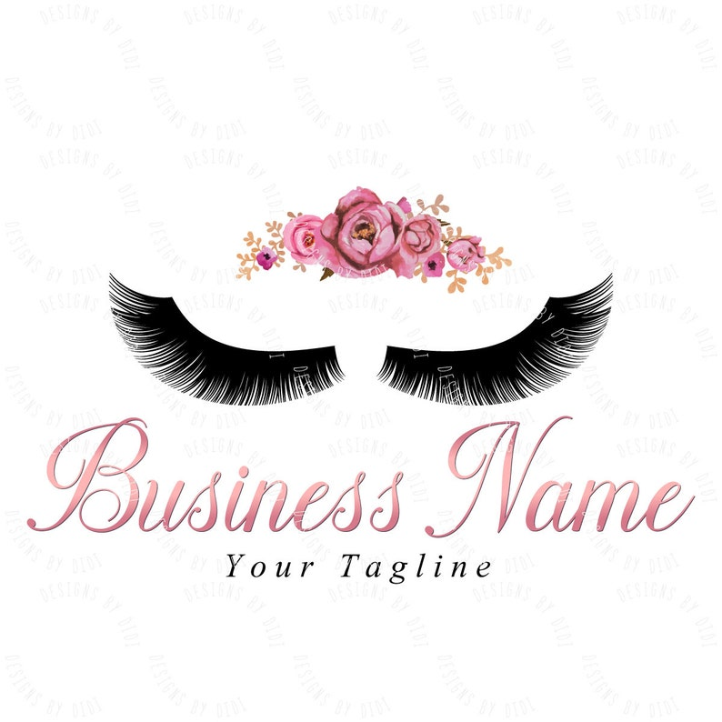 Custom logo, lash flowers logo, eyelashes pink flowers logo, eyelash logo  rose gold, cosmetics logo rose gold, beauty makeup lashes logo