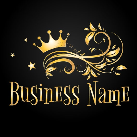 Custom logo design gold black crown logo crown logo design | Etsy