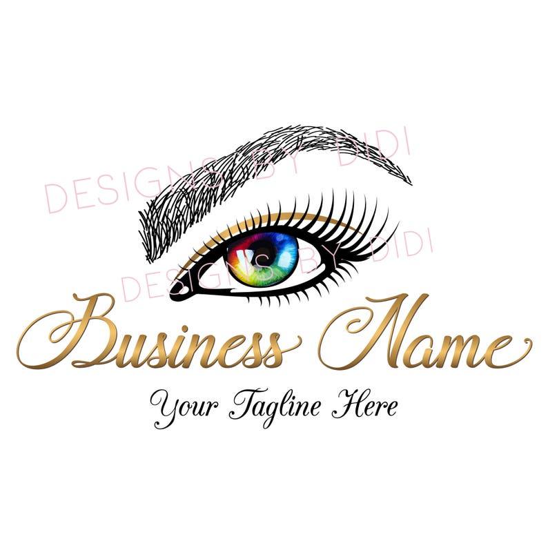 Custom logo Eyelash, gold clorful eye lashes logo, eyelash logo gold,  colorful rainbow eye logo, cosmetics logo gold , gold eye lashes logo