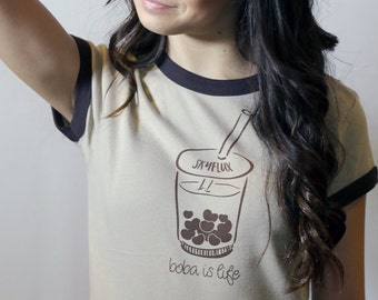 Boba T Shirt - Boba Tee with Heart Shaped Boba Bubble Tea *free shipping in United States
