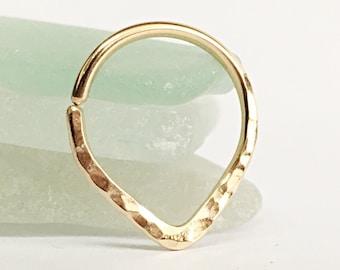 Triangle Septum Ring Gold Septum Ring 16g Septum Jewelry Ring, Septum Piercing 18g Septum Ring 14g Nose Septum Ring 20g, Tribal Septum Ring