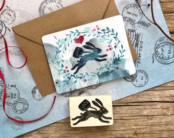 Hare hand carved rubber stamp, DIY, Easter rubber stamp, rabbit card design, gift for bunny lover, gift wrapping, gift tags, scrapbooking