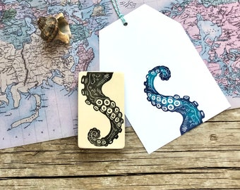 """hand carved rubber stamp """" Octopus poor"""", DIY, print making, gift packaging"""