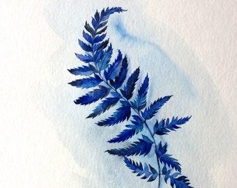 Fern leaf ORIGINAL watercolor painting, still life,  art, gift, home decor