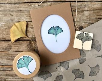 "Hand carved rubber stamp ""ginkgo leaf"", DIY, gift for kids, printing, gift packaging, art  journaling, scrapbooking, card design"