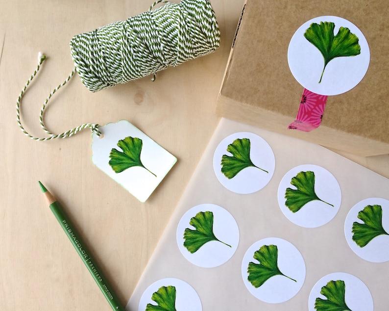 ginkgo leaf sticker sheet with 15 stickers ginkgo design