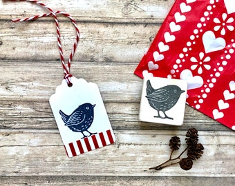 """Hand carved rubber stamp """"little bird"""", DIY, gift for kids, animal, gift packaging, BuJo, scrapbooking"""