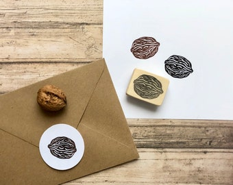 Hand carved rubber stamp nut, DIY walnut stamp, handmade, Christmas decor, gift wrapping