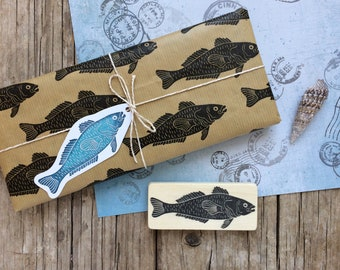 """Hand carved rubber stamp """"fish"""", DIY, printmaking, card design, gift for kids, gift wrapping, gift tags, scrapbooking"""