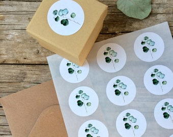 Eucalyptus sticker, sheet with 15 Stickers, plant design, green leaf, Christmas decor,DIY,gift wrapping, rustic wedding weddlabeling