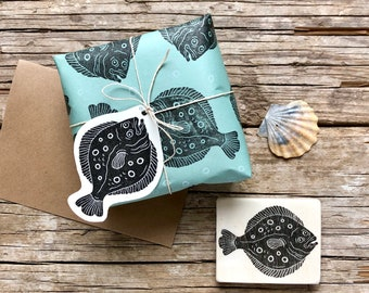 """Hand carved rubber stamp """"flatfish"""", plaice motiv, under water,printmaking, card design, gift wrapping, gift tags, scrapbooking"""