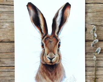 Hare  watercolour fine art archival print, animal art,Bunny nursery decor, Easter gift, giclee print, Rabbit Illustration, Spring Home decor
