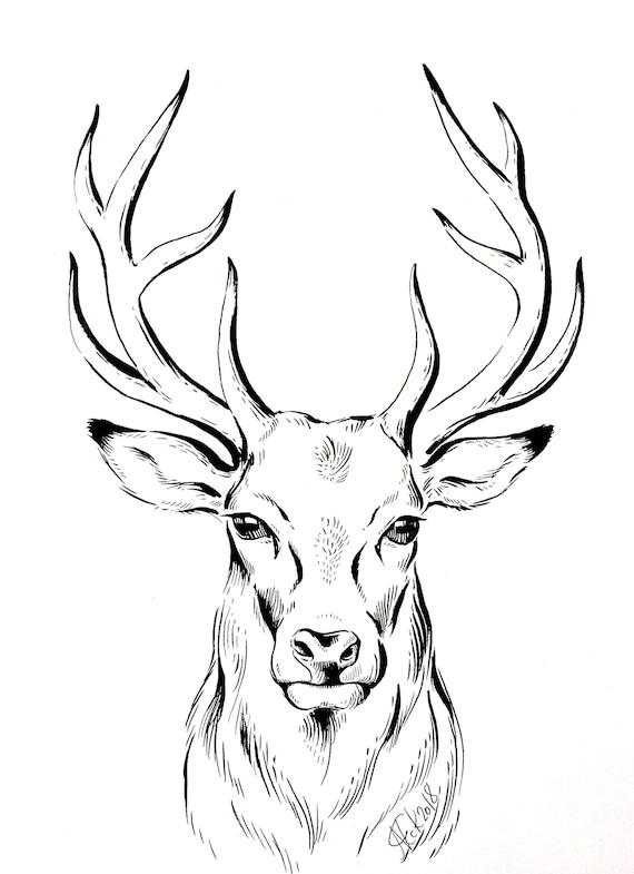 Original dessin cerf dessin minimaliste oeuvre photo etsy - Dessin tete de cerf ...