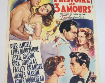 Vintage Belgian Film / Movie Poster - The Story of Three Loves - 1953
