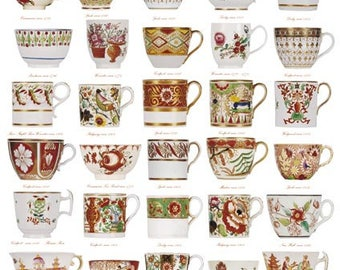 Giftwrap / Poster Print - English Georgian Tea & Coffee Ware - 700 x 500mm
