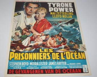 Vintage Belgian Film / Movie Poster - Seven Waves Away - Tyrone Power - 1957