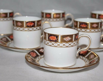 Royal Crown Derby - Imari 8450 - Set of 6 x Demitasse Cups & Saucers - 1911 -vgc