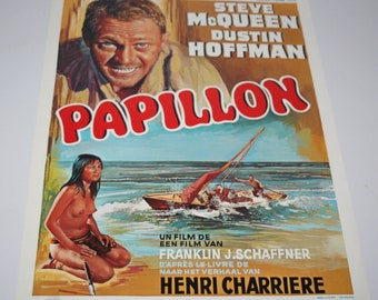 Belgian Film / Movie Poster - Papillon - Steve McQueen / Dustin Hoffman - 1973