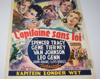 Vintage Belgian Film / Movie Poster - Plymouth Adventure - Spencer Tracy - 1952