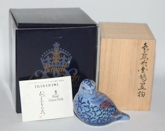 Royal Crown Derby - Imaemon Blue Chaffinch Paperweight - Box - vgc