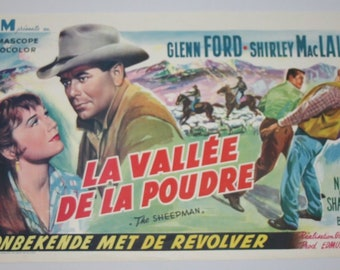 Vintage Belgian Film / Movie Poster - The Sheepman - Glenn Ford - 1958