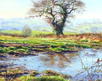 "Mark Preston - Clear Morning Near Shottle - Signed Original Acrylic, 14"" x 16"""