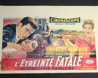 Vintage Belgian Film / Movie Poster - A Kiss Before Dying - Robert Wagner - 1956