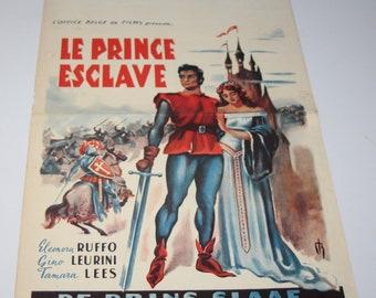 Vintage Belgian Film / Movie Poster - Le Prince Esclave - Eleonora Ruffo - 1952