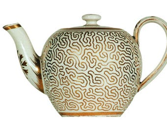 Gift Tag - English Pearlware Toy Teapot, Circa 1815