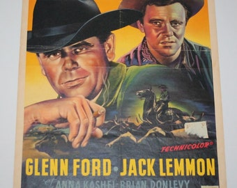 Vintage Belgian Film / Movie Poster - Cowboy - Glenn Ford / Jack Lemmon - 1958