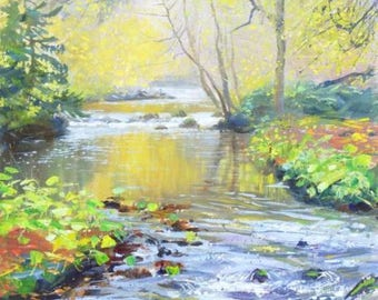 "Mark Preston - Still Autumn Day, Chee Dale - 2001 Signed Original, 14"" x 15"""